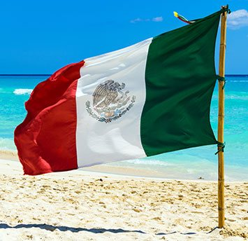 Mexico Flag on the Beach